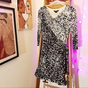 Scoop Neck Speckled Wrap Dress